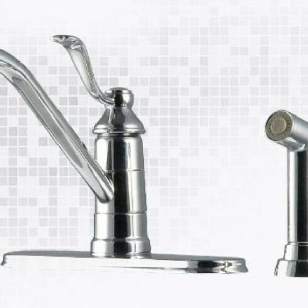 4 Hole Single Control Kitchen Faucet : Pfister portland or hole single handle kitchen faucet polished chrome